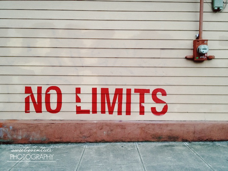 urban street photograph no limits text