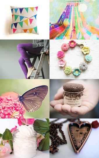 Butterflies rainbows pink purple etsy treasury curated by Jessica Nichols