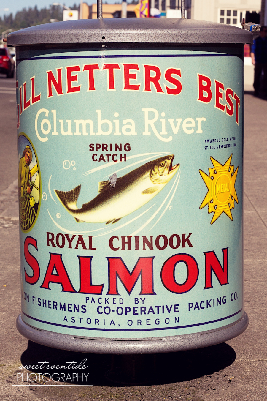 vintage typography royal chinook salmon astoria oregon garbage can