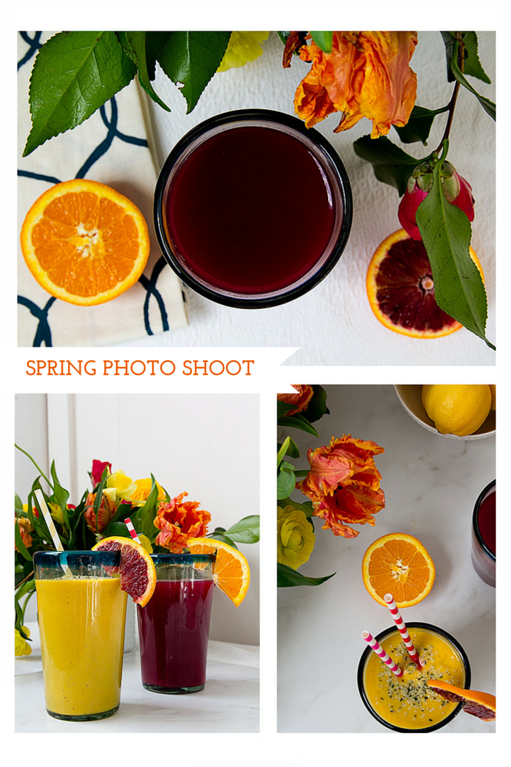 food photography, Bliss Holistic Health, spring, spring, flowers, juice, turmeric smoothie, citrus, Jessica Nichols, Sweet Eventide Photography