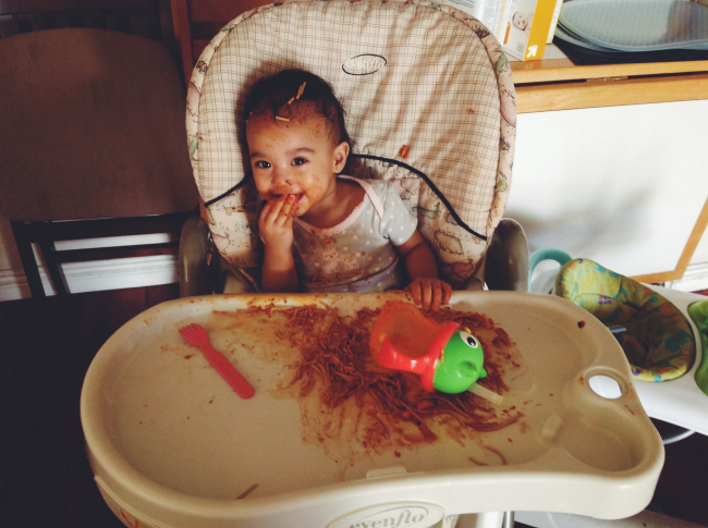 Messy Baby Eater Spaghetti