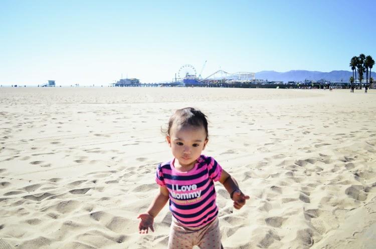 Santa Monica Pier with my baby girl carousel