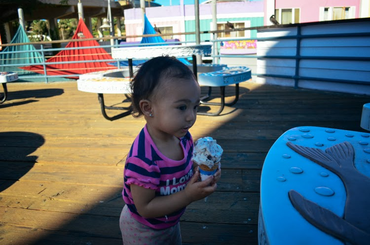 Santa Monica Pier with my baby girl baby eating ice cream