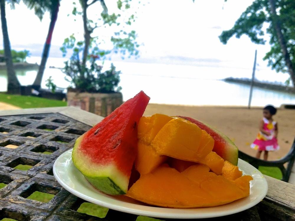 Cebu Marine Resort toddler eating fruits Watermelon mango
