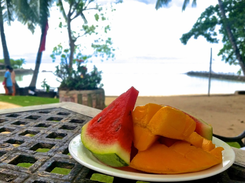 Cebu Marine Resort toddler eating fruits Watermelon mango