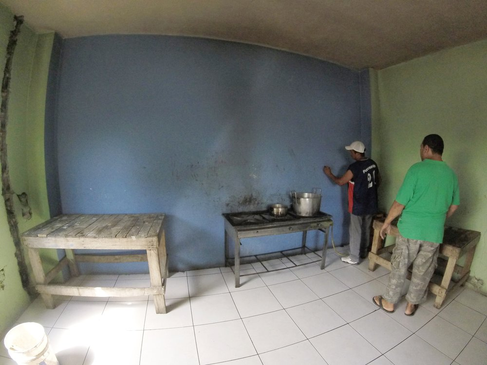 The orphanage's kitchen before