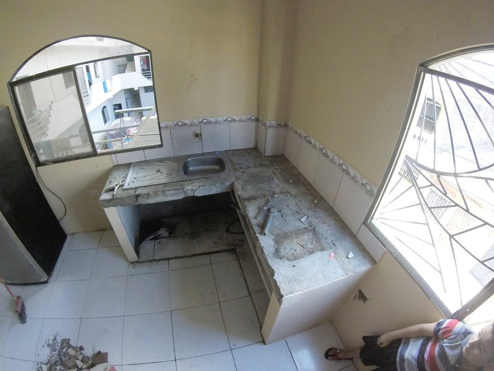 The orphanage's kitchen sink before