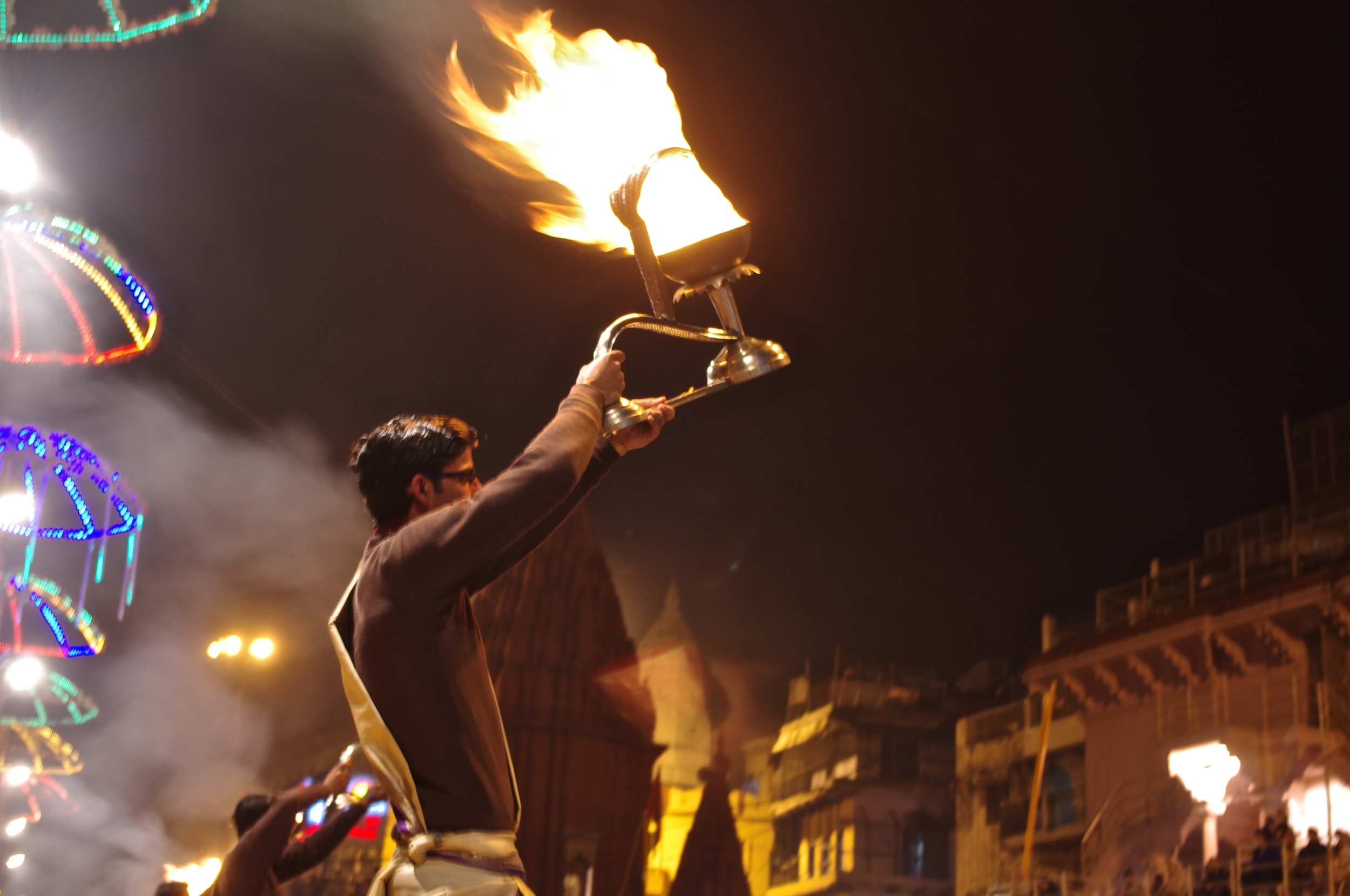 Fire Ceremony on the Ghats of the Ganges