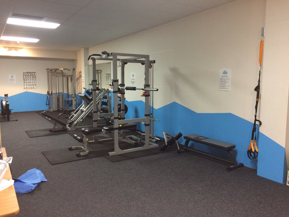 The free weights section - power cage, leg press/hack squat, and dumbbells