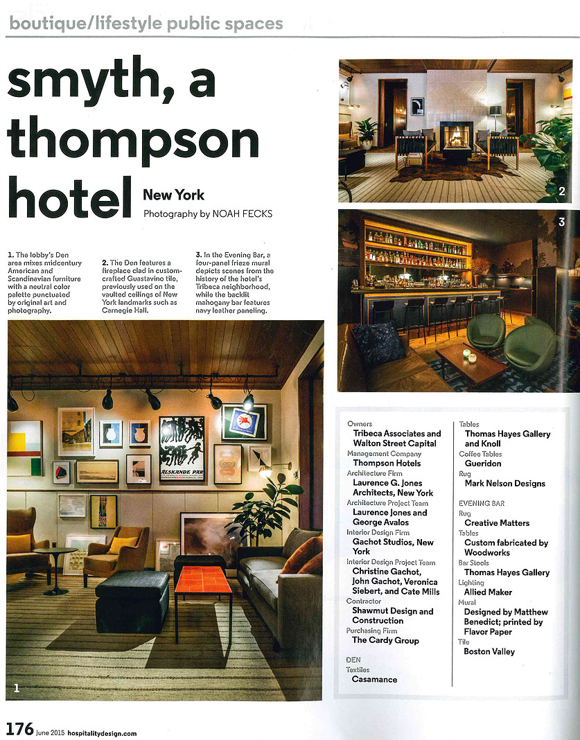 HD AWARDS FOR SMYTH HOTEL Featuring our Gachot stools in a stunning Thompson hotel bar in NYC designed by Gachot Studios