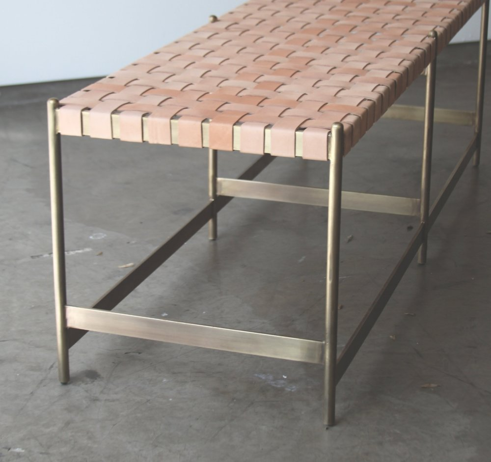 LEATHER STRAP METAL BENCH