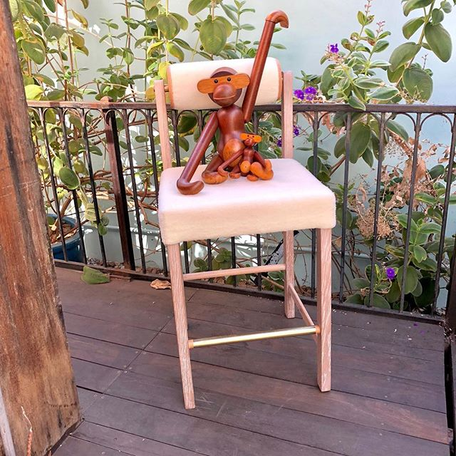 "New design collaboration with @tarakantorinteriors. The "" TK"" bar stool ( monkeys NOT included ) shown in white oak with a white oil finish. Bronze footrest and spacers with vegetable dye natural leather accents. Truly a pleasure languishing to get this one right with Tara Kantor. Sometimes, the juice is worth the sueezeeeee...."
