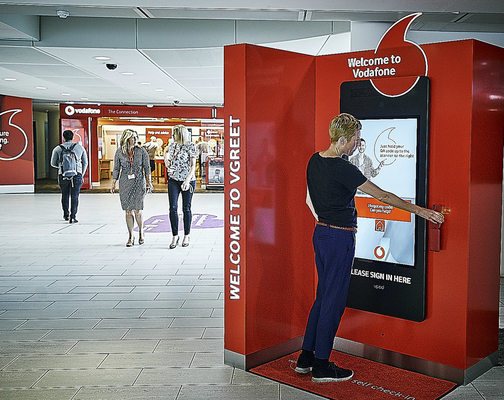 Helping visitors register for appointments, find their way around or even see local travel and weather information is now super fast with Vodafone's Vgreet units.