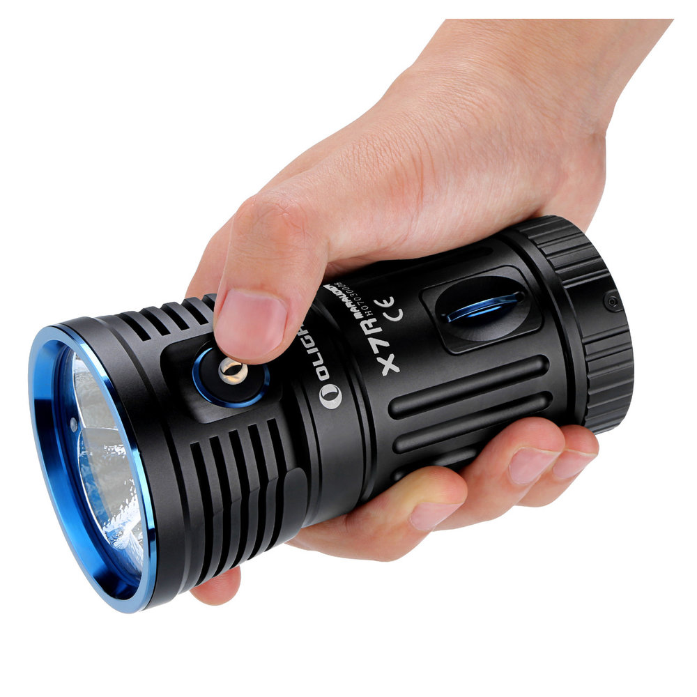 X7R Marauder - Olight X7R Marauder Flashlight delivers a maximum output of 12,000 lumens, a 33.33% brightness increase over the original flashlight X7 Marauder