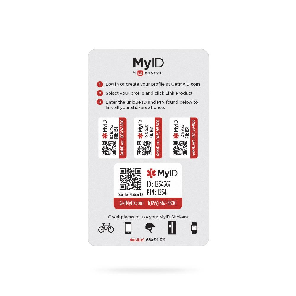 MyID Sticker Set - Four heavy-duty stickers that work the same as other MyID products.
