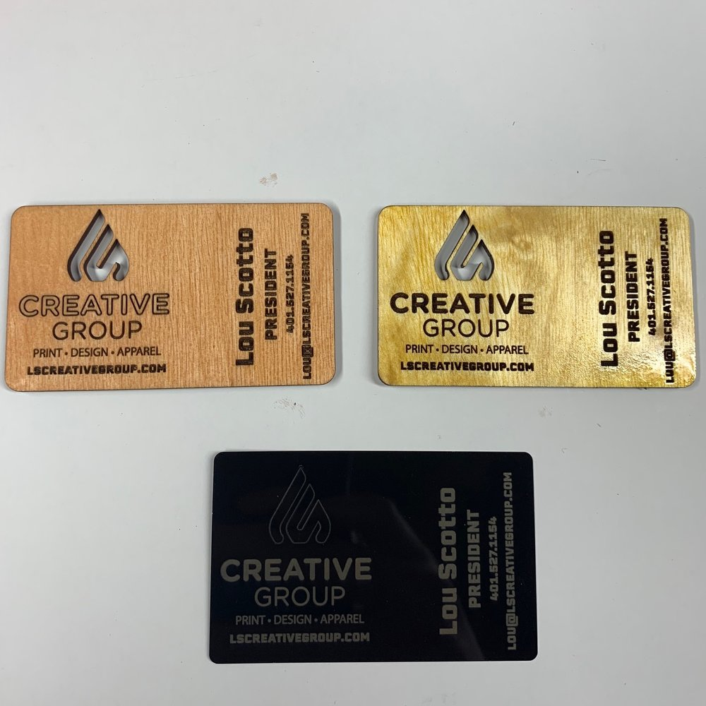 Unique Business Cards - Have a client you need to impress? Choices of hardwood and aluminum (shown) and other plastics.
