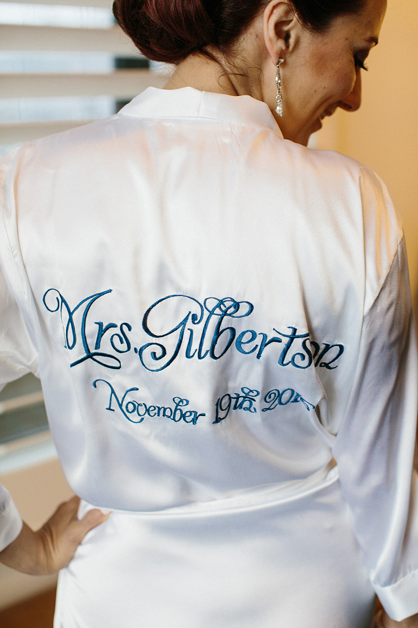 The bride's custom stitched robe!