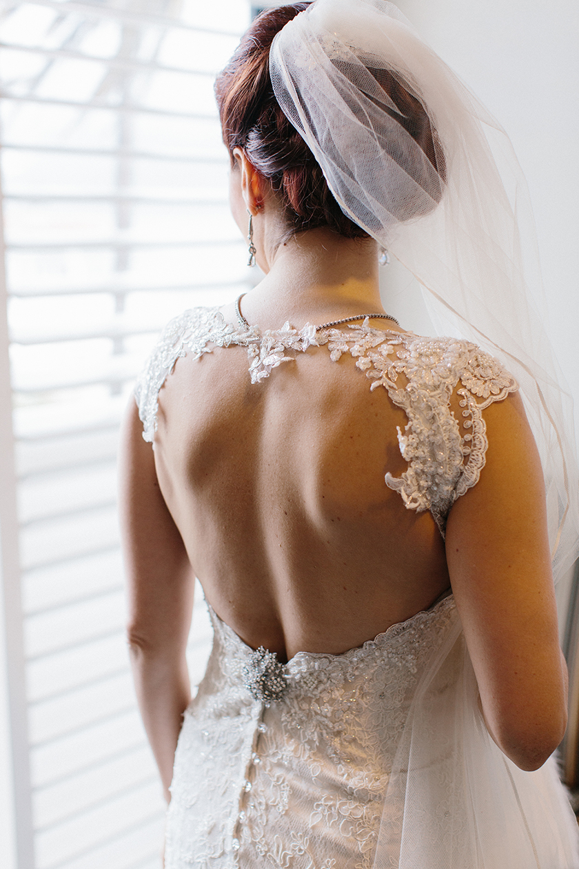 The bride's beautiful keyhole back wedding dress