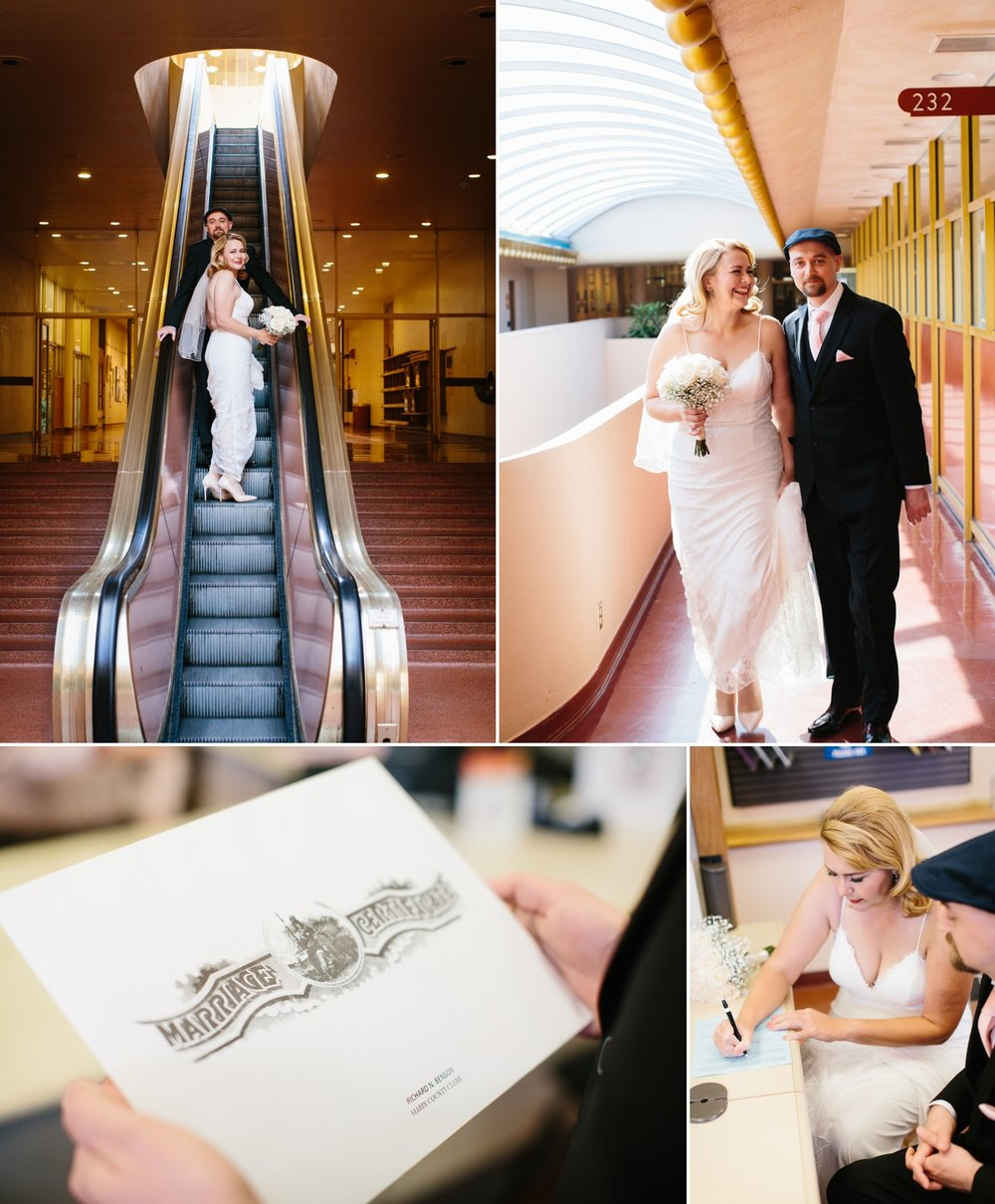 The escalator ride up to the Marin County Clerk's office, and filling out the marriage license!