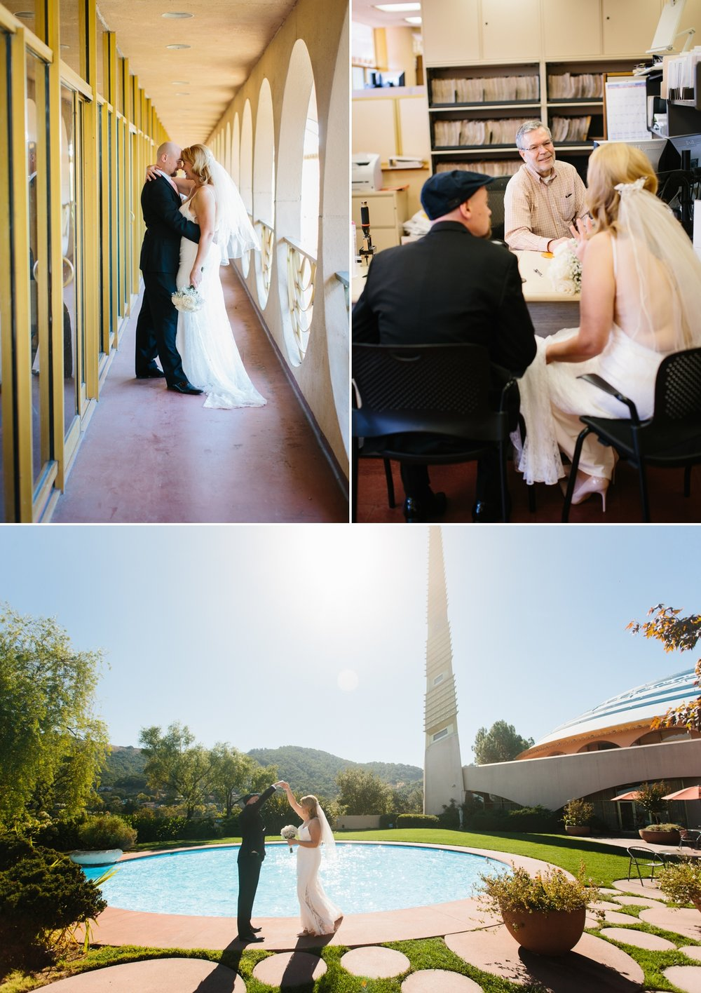 The engaged couple walks the hallways, meets with the Marin county clerk, and a twirl in front of the circular pool.