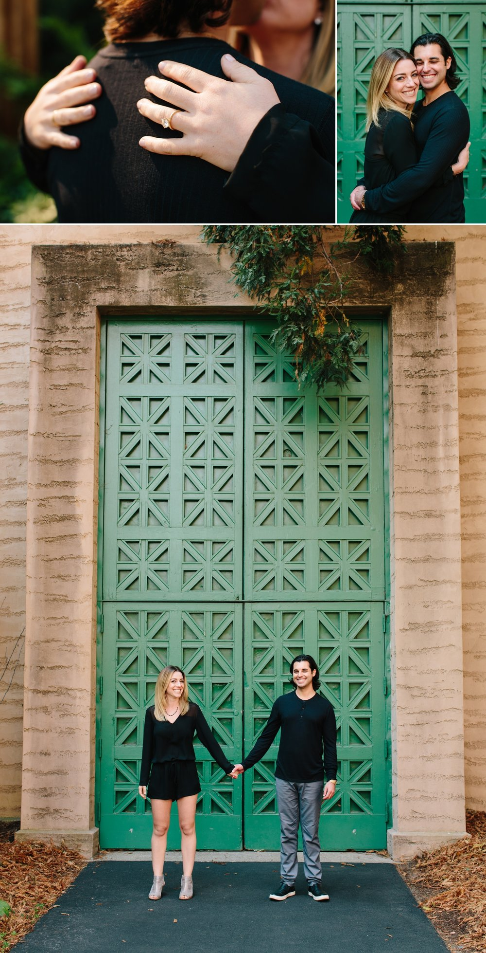 Engagement ring. Hugs at the Palace of Fine Arts. Big green doors. Happy Couple.
