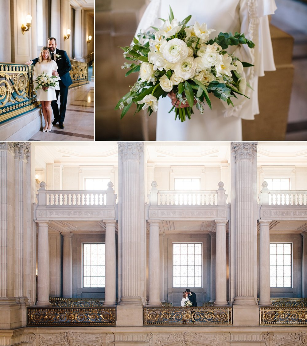 The bride's classic white flower bouquet and a kiss on the 3rd floor balcony of San Francisco City Hall.