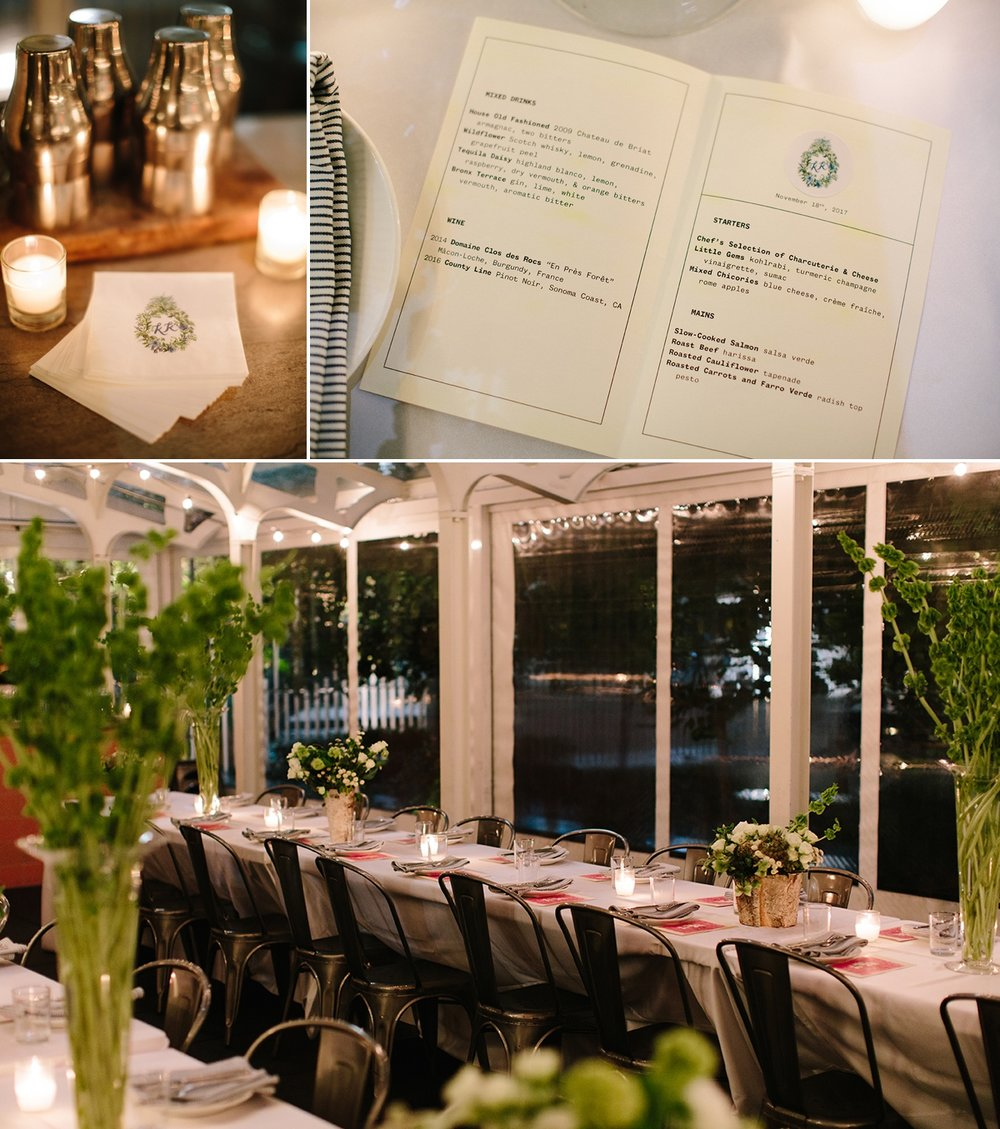 The custom menu, napkins, and intimate french-style table settings for the bride and groom's dinner reception at Trou Normand.
