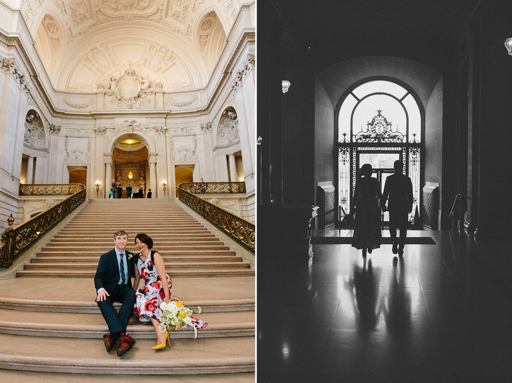The bride and groom sit on the grand staircase. Silhouettes of the bride and groom as they exit San Francisco City Hall.