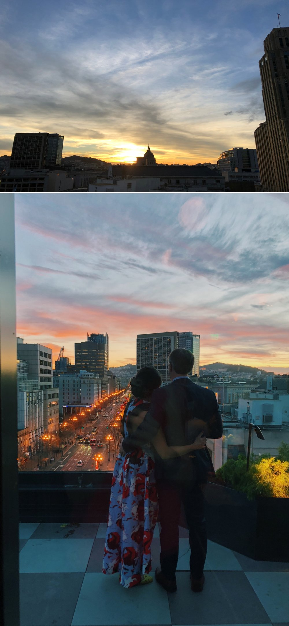 The bride and groom enjoy the sunset of their wedding night from The Proper Hotel in San Francisco.