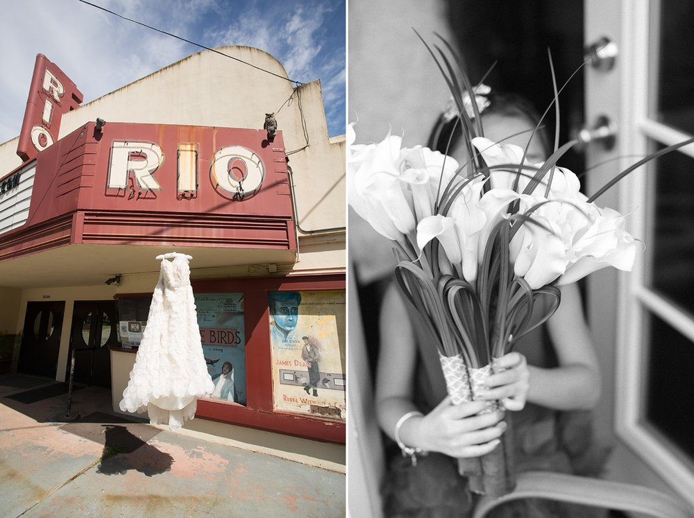 Bride's wedding dress hanging on the historic Rio theater in Monte Rio. Flower girl holding lily bouquet.