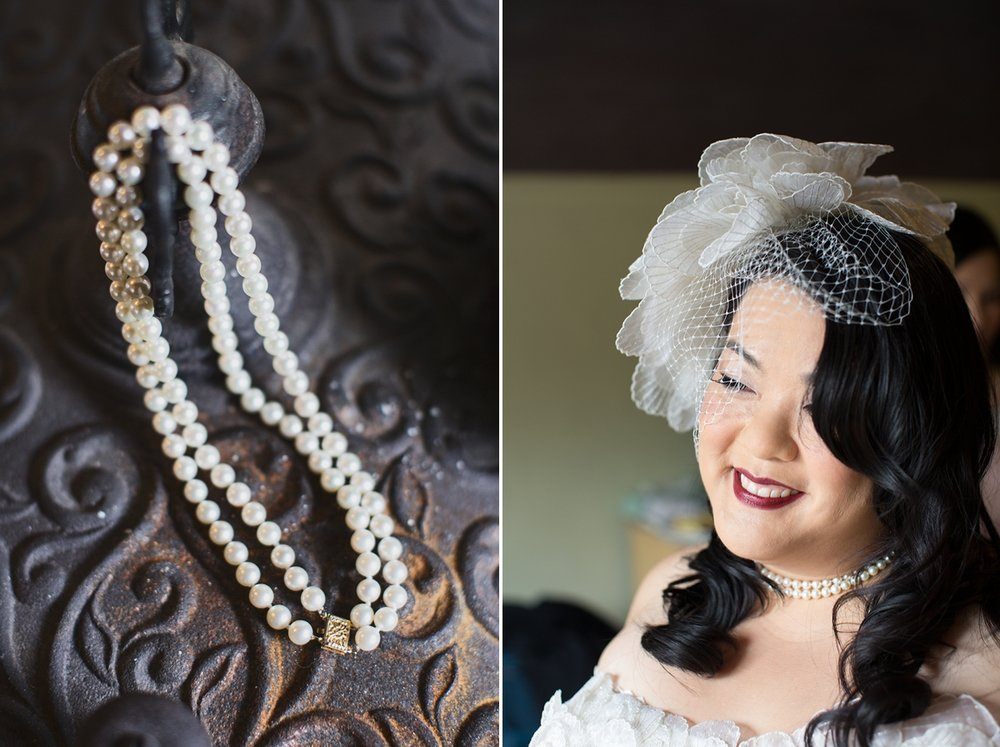 Pearls given to the bride by her mother, and a portrait of the bride at the Highland Dell Lodge in Monte Rio.