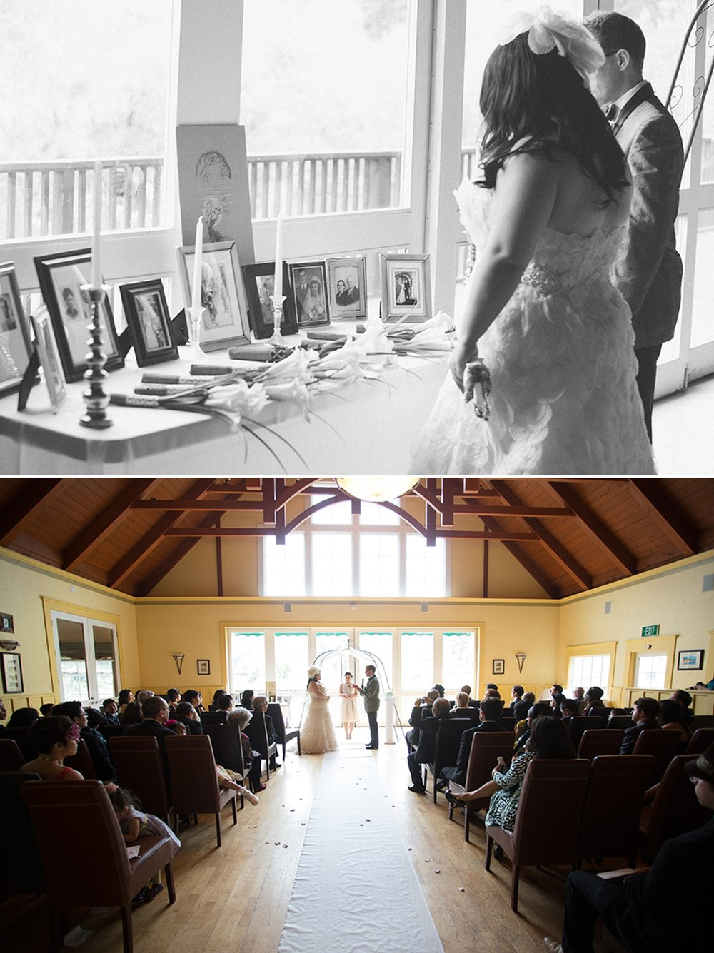 During the ceremony the bride and groom visited a table with photos from their family, past and present. At the Highland Dell Lodge in Monte Rio, California.