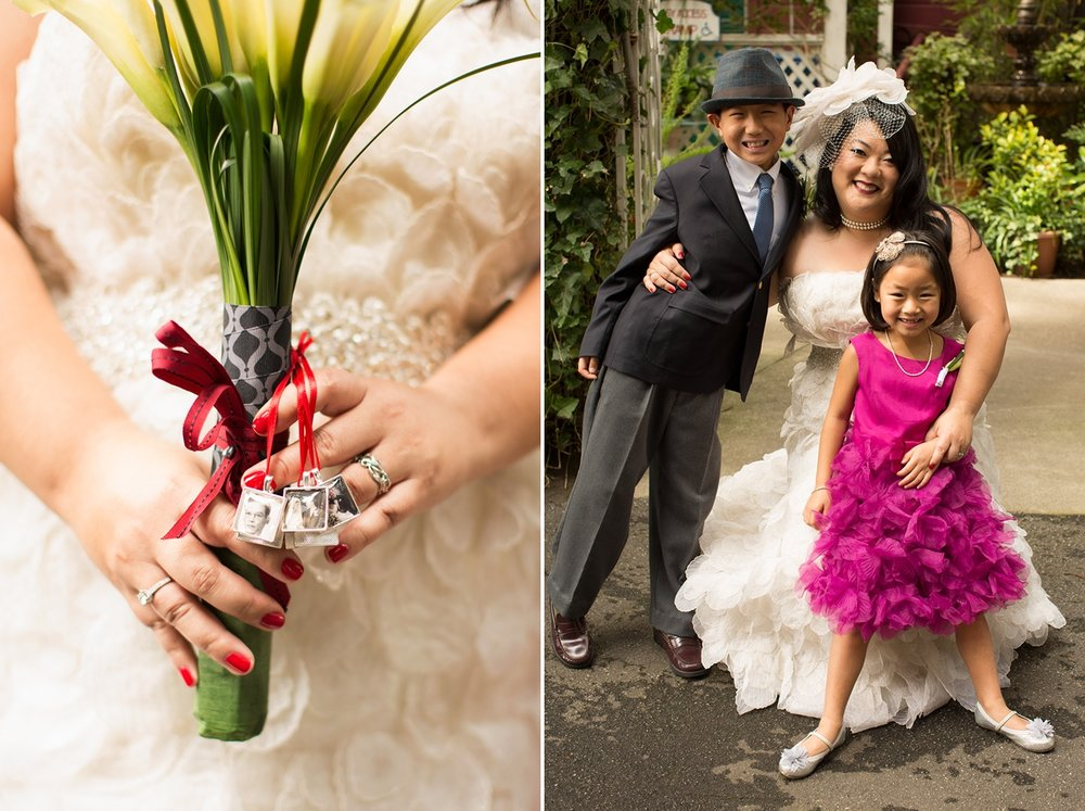 The bride's lily bouquet with framed family photos tied to it. The bride with the flower girl and ring bearer.