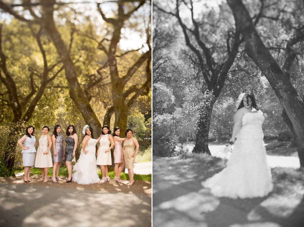 The bride with her bridesmaids in Monte Rio, California.
