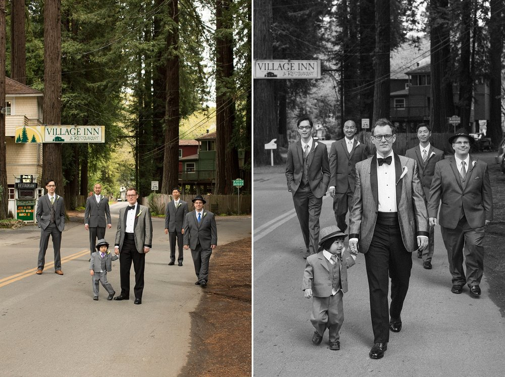 The groom and groomsmen take a stroll in front of the Village Inn in Monte Rio.