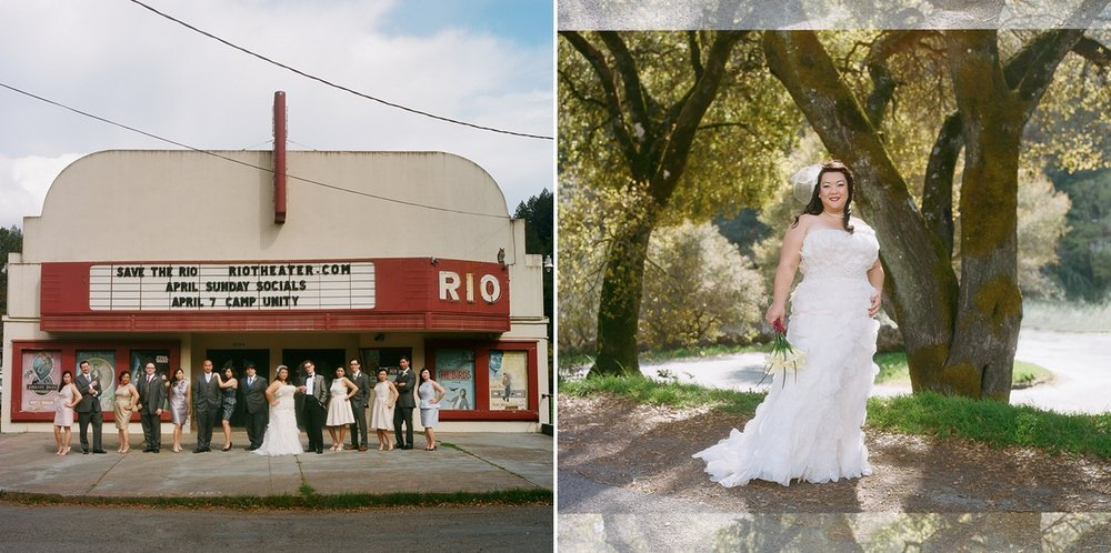 The wedding party strikes a pose in front of the historic Rio theater. Portrait of the bride in Monte Rio, California. Shot on film with a Hasselblad 503cw.