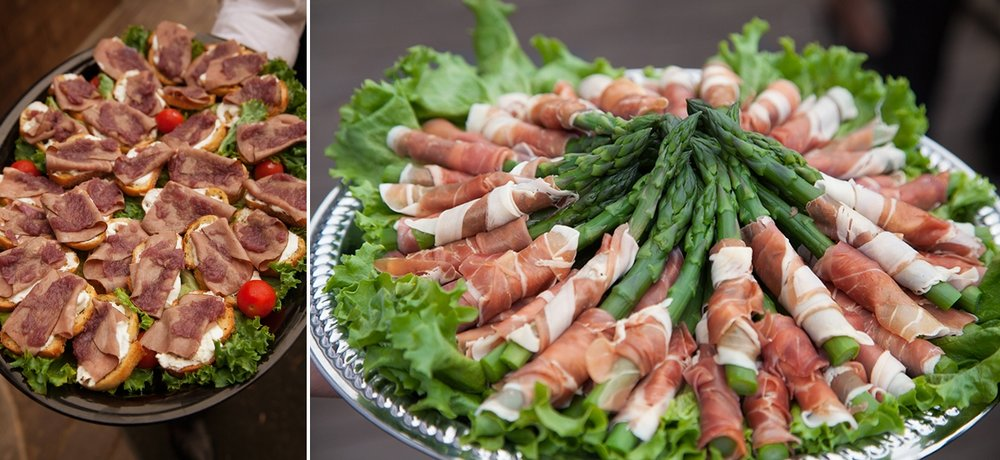 The appetizers from the Highland Dell Lodge, including beef wellington and asparagus wrapped in prosciutto.
