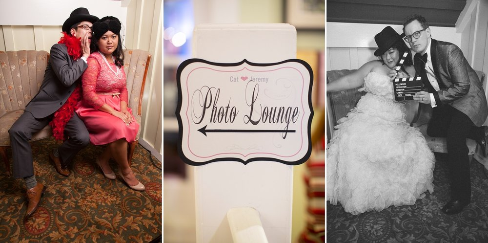 A vintage photo lounge for a wedding at the Highland Dell Lodge in Monte Rio.