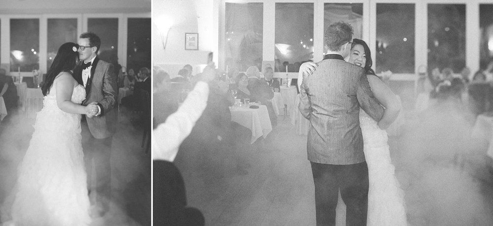 The bride and groom's first dance in the smoke of a fog machine at the Highland Dell Lodge in Monte Rio.
