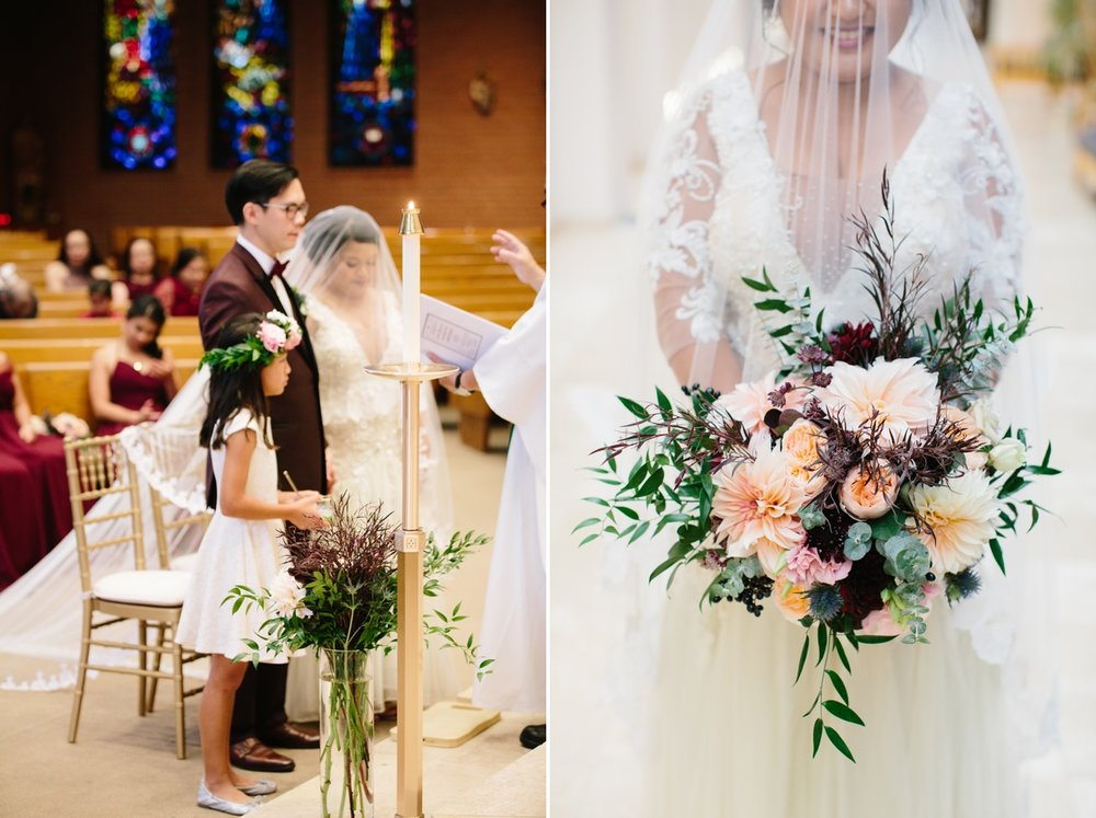 "The florals: ""I wanted the wedding flowers to be modern, organic and moody to fit the beautiful fall foliage.  Flora  has captured it so well and I was in love with the bouquet!"" - Jayvee"