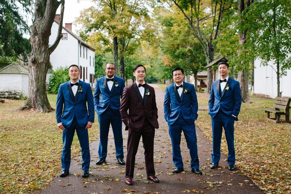 The groom and his groomsmen at Washington Crossing Park.