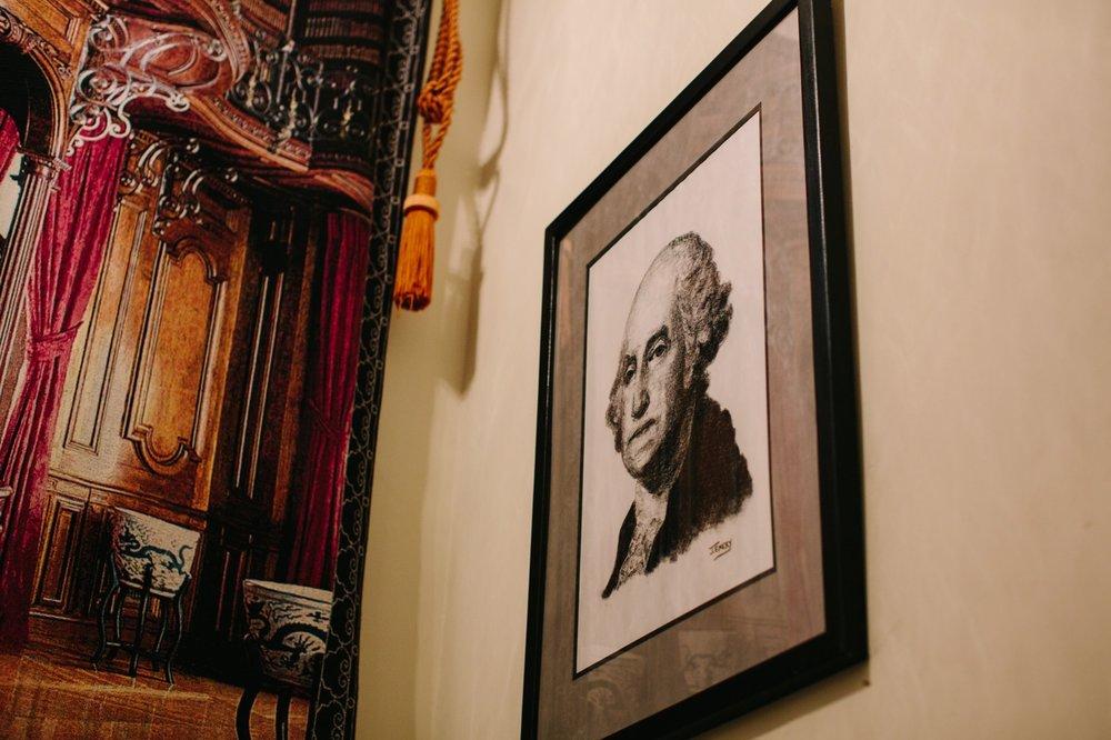 A portrait of General Washington inside the historic Washington Crossing Inn.
