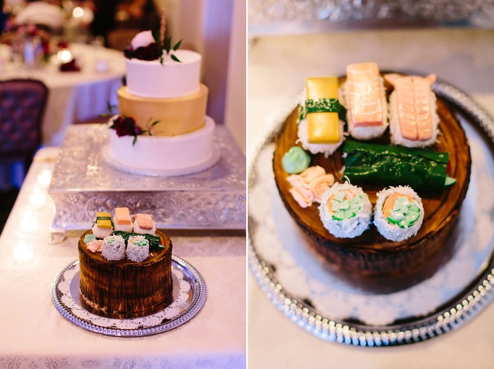 """I surprised Jonathan with a sushi groom's cake since we both love Japanese food.  The Gingered Peach Bakery  did such an amazing job with the details, they even had ginger and wasabi on the side!"" - Jayvee"