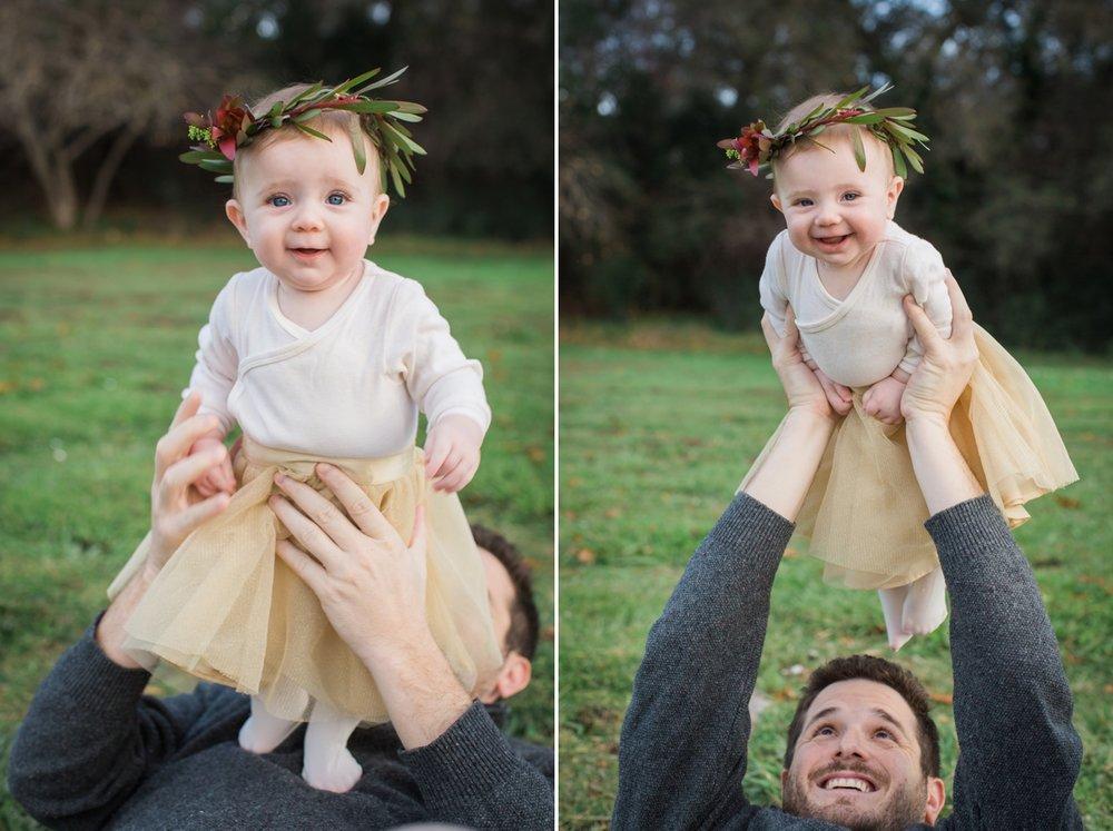 Baby Maya wears a fall floral crown at Vasona Park in Los Gatos.