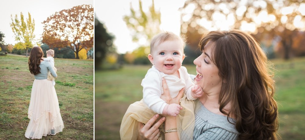 Baby Maya and her mom walk in Vasona Park.