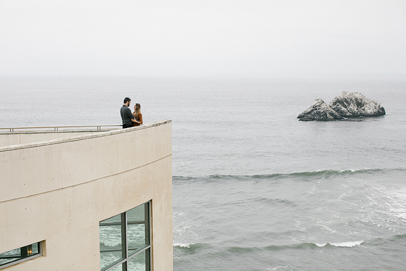 San Francisco Engagement Session at the Cliff House and view of Seal Rocks.
