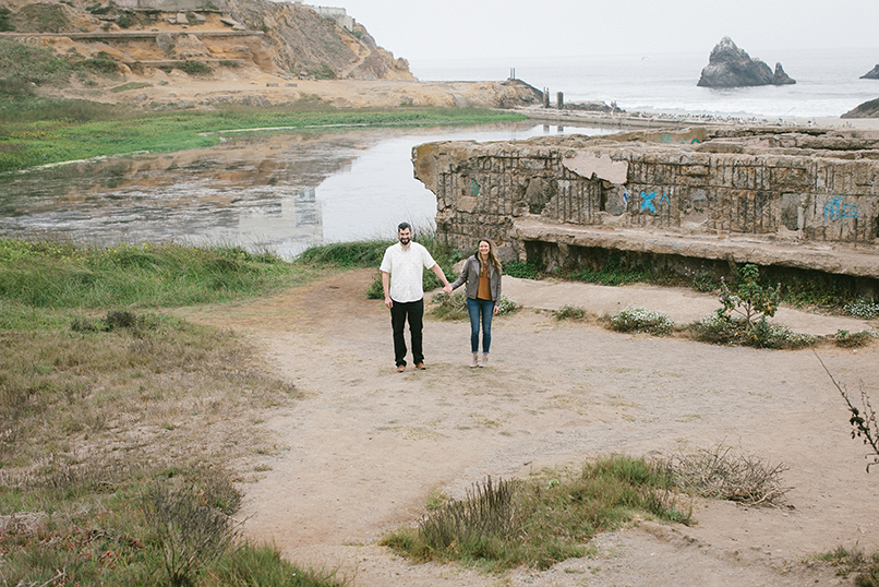 Alex and Mel in front of the ruins of Sutro Baths.