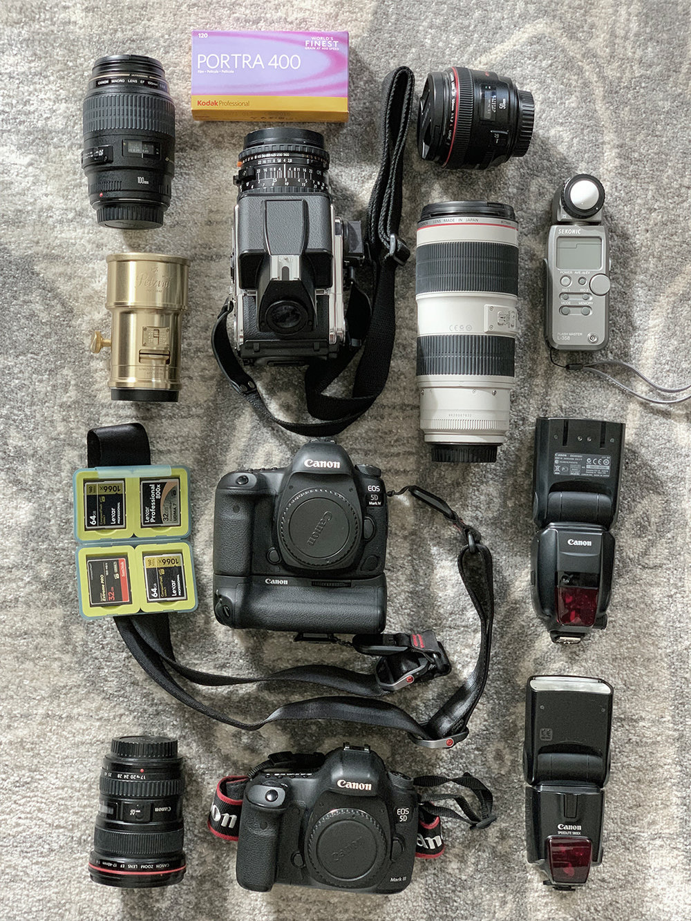 Professional wedding photography cameras, lenses, flashes, and film cameras.