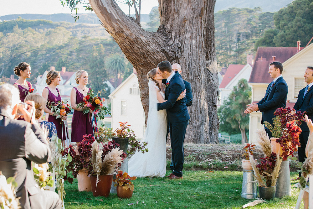 Outdoor wedding ceremony at Cavallo Point Lodge in Sausalito California.