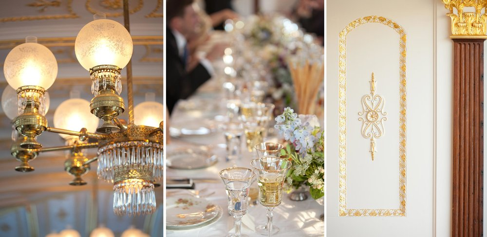 Vintage Chandeliers and gold leafing are some of the interior details that make China Cabin a unique wedding venue.